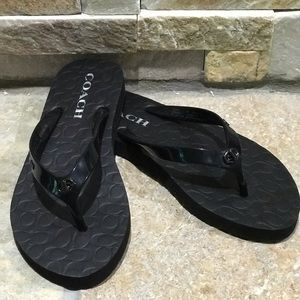 NEW, Coach, black flip flops